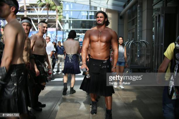 Attendees portraying characters from Outlander at the San Diego Convention Center during Comic Con International in San Diego California on Thursday...