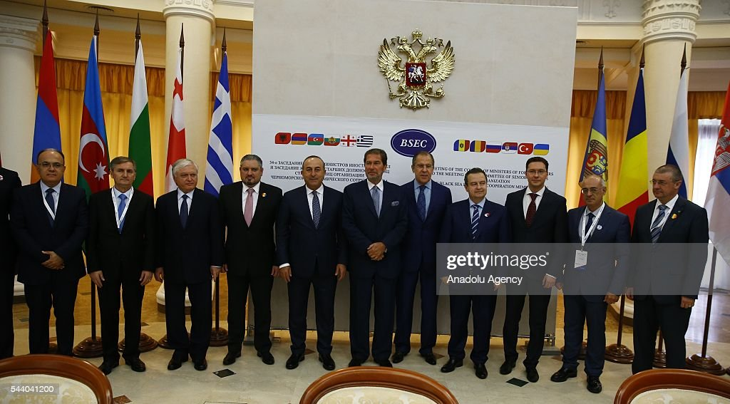 Attendees pose for a family photo after the meeting of the Council of Ministers for Foreign Affairs of the Black Sea Economic Cooperation Organization (BSEC) member-states in Sochi, Russia on July 1, 2016.