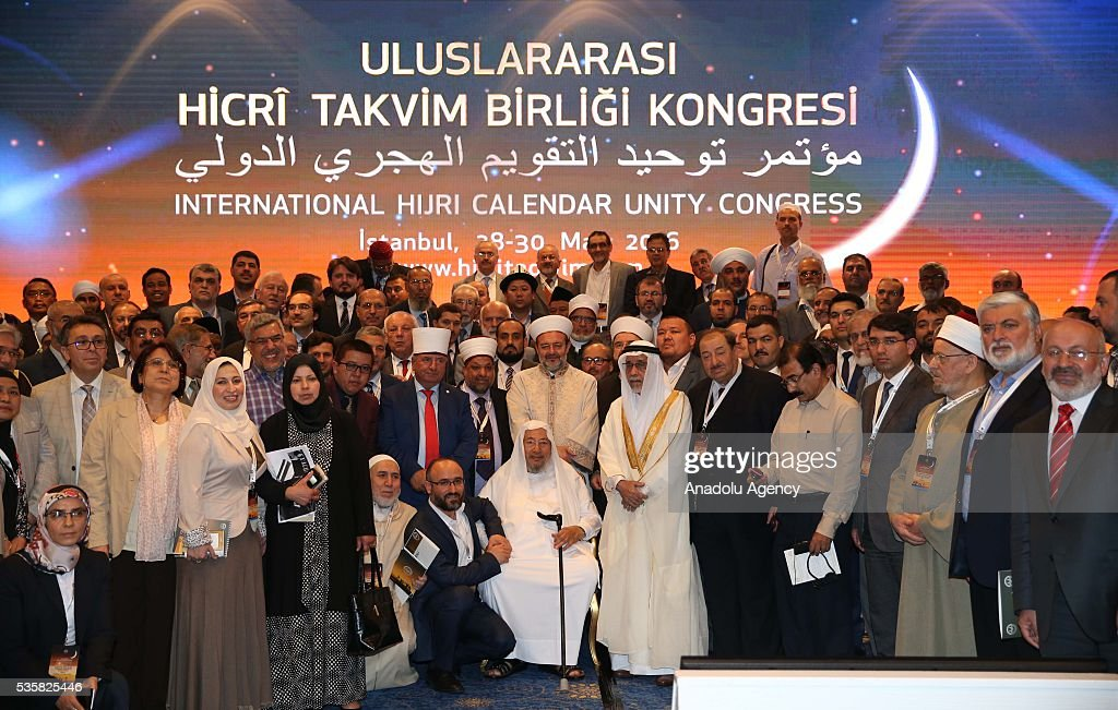 Attendees pose for a photo after the International Hijri Calendar Unity Congress organized by the Turkish Presidency of Religious Affairs, European Council For Fatwa and Research, Bogazici University Kandilli Observatory and Islamic Crescents Observation Project in Istanbul, Turkey on May 30, 2016.