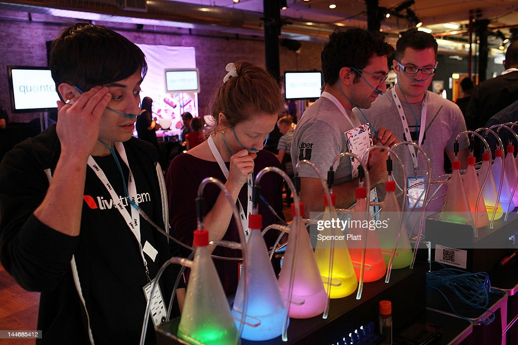 Attendees sample an oxygen bar at the 5th annual Internet Week New York on May 17, 2012 in New York City. It is expected that some 45,000 people will attend the festival through next Monday. A celebration for digital culture and a showcase for New York City's growing technology industry, Internet Week New York features over 300 events that focus on social media and digiital culture. The event is produced by the International Academy of Digital Arts & Sciences (IADAS), in cooperation with the Mayor's Office of Media and Entertainment.
