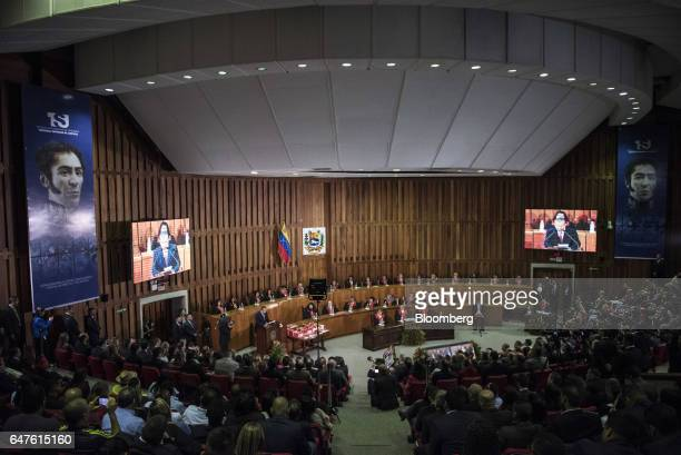 Attendees sit during the during the annual reports presentation at the Supreme Court in Caracas Venezuela on Thursday March 3 2017 El Aissami...