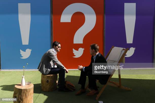 Attendees sit in the Twitter Inc networking garden on the third day of Mobile World Congress in Barcelona Spain on Wednesday March 1 2017 A theme...