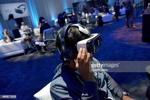 Attendees test out the first consumer version of the Samsung Gear VR at Oculus Connect 2 Developers Conference 2015 at Loews Hollywood Hotel on...