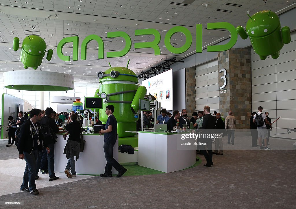 Attendees visit the Android booth during the Google I/O developers conference at the Moscone Center on May 15, 2013 in San Francisco, California. Thousands are expected to attend the 2013 Google I/O developers conference that runs through May 17. At the close of the markets today Google shares were at all-time record high at $916 a share, up 3.3 percent.