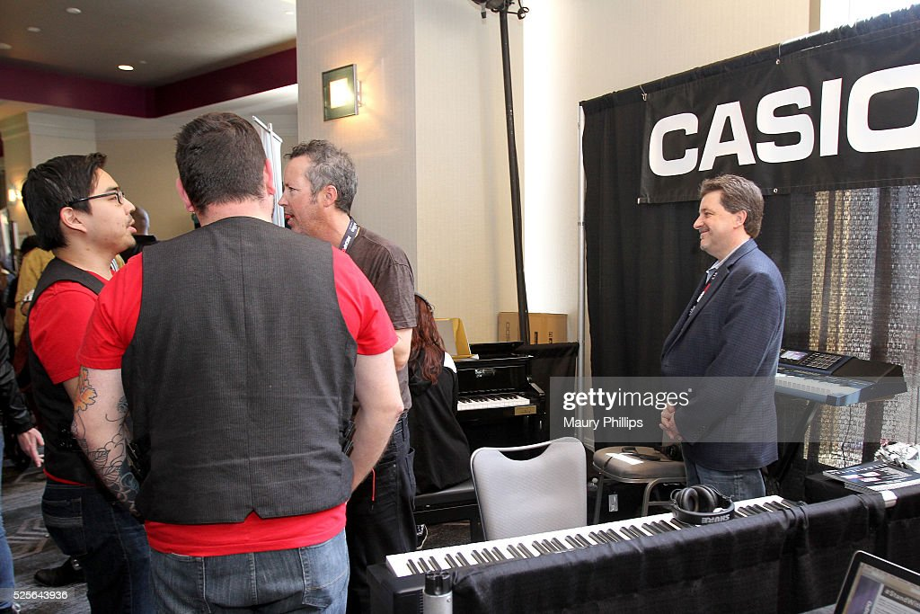 EXPO attendees visit the Casio booth during the 2016 ASCAP 'I Create Music' EXPO on April 28, 2016 in Los Angeles, California.
