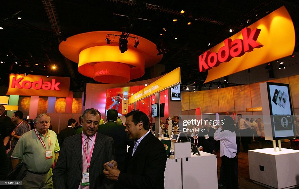 Attendees visit the Kodak booth at the Las Vegas Convention Center during the 2007 International Consumer Electronics Show January 9, 2007 in Las Vegas, Nevada. The world's largest consumer technology trade show runs through January 11 and features 2,700 exhibitors showing off their latest products and services to more than 150,000 attendees.