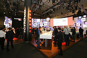 Attendees visit the Lenovo Group Ltd technology pavilion during the Mobile World Congress at the Fira Gran Via complex in Barcelona Spain on February...