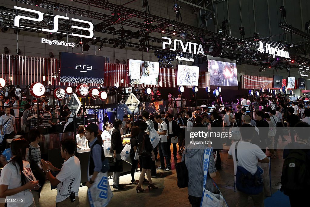 Attendees visit the Sony Computer Entertainment Inc. booth during the Tokyo Game Show 2012 at Makuhari Messe on September 20, 2012 in Chiba, Japan. The annual video game expo, which is held from September 20 to 23, attracts thousands of business visitors and the general public with exhibitions of the upcoming game software and latest hardware.