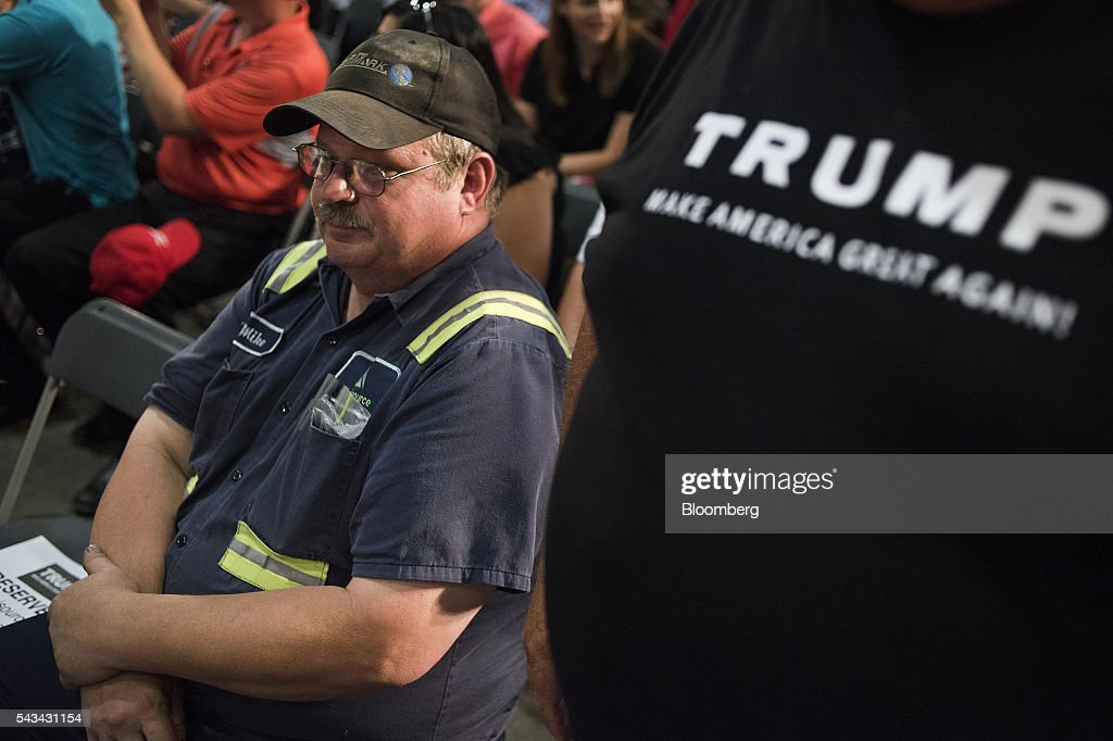 Attendees wait for the start of a campaign event with Donald Trump, presumptive Republican presidential nominee, not pictured, in Monessen, Pennsylvania, U.S., on Tuesday, June 28, 2016. President Barack Obama said Trump is a lifetime member of the 'global elite' who is trying to stir up in the U.S. the kind of anti-immigrant sentiment that drove Britain to vote itself out of the European Union. Photographer: Ty Wright/Bloomberg via Getty Images