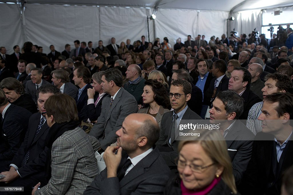 Attendees wait for the start of the groundbreaking ceremony for the Hudson Yards development in New York, U.S., on Tuesday, Dec. 4, 2012. Related Cos. has tentative deals in place for two more tenants to occupy the first tower of its Hudson Yards development, Chairman Stephen Ross said today as construction began at the 26-acre site on Manhattan's west side. Photographer: Victor J. Blue/Bloomberg via Getty Images