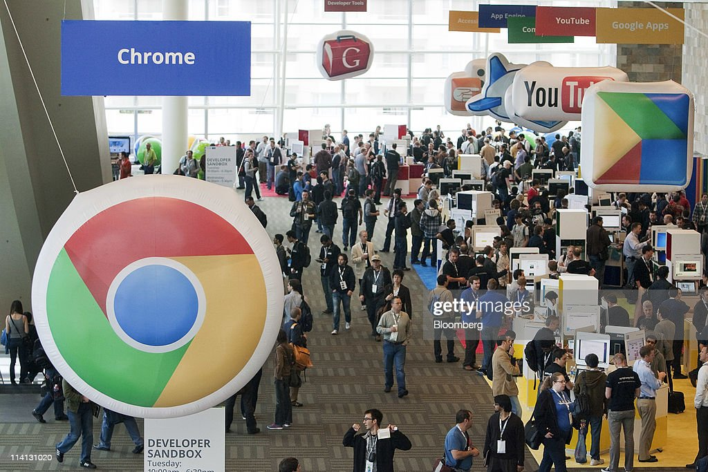 Attendees walk around the showroom floor at the Google I/O conference in San Francisco, California, U.S., on Wednesday, May 11, 2011. Google Inc., the world's largest Internet-search company, is making a bigger push into entertainment services, adding music storage and movie-rental features to its Android software for phones and tablets. Photographer: David Paul Morris/Bloomberg via Getty Images