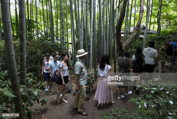 Attendees walk through a Japanese garden during a cultural experience program part of Mitsubishi UFJ Financial Group Inc's Global Analyst Program for...