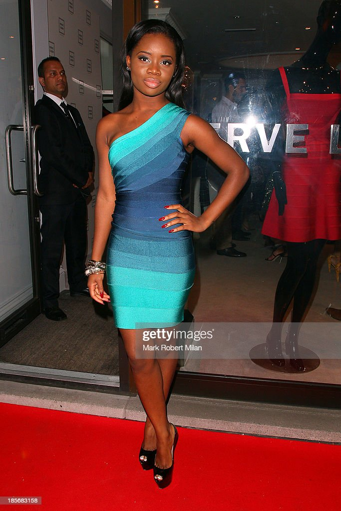 A*M*E attending the Herve Leger by Max Azria Barbie doll launch on October 23, 2013 in London, England.