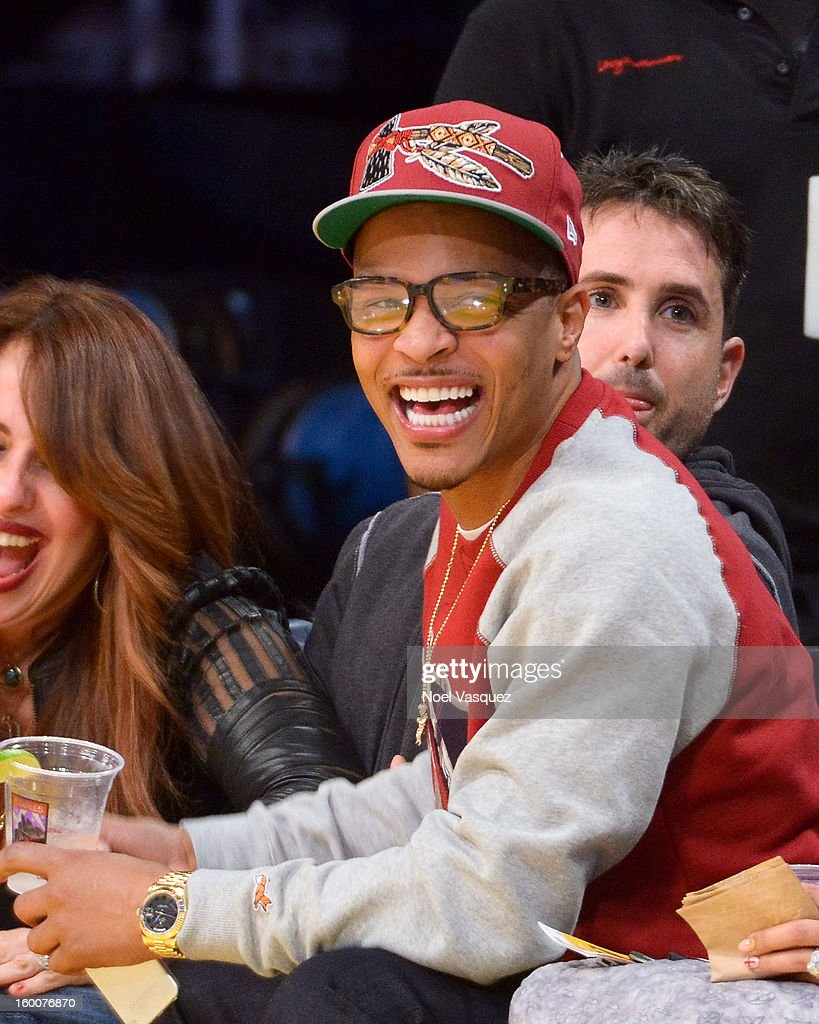 T.I. attends a basketball game between the Utah Jazz and the Los Angeles Lakers at Staples Center on January 25, 2013 in Los Angeles, California.