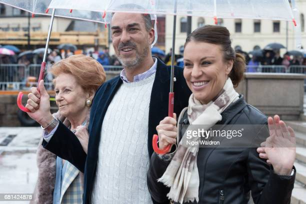 Lady Elizabeth Shakerley of Great Britain Carlos Euguster and Desiree Kogevinas of Belgium attend a lunch on the Royal yacht Norge on the occasion of...