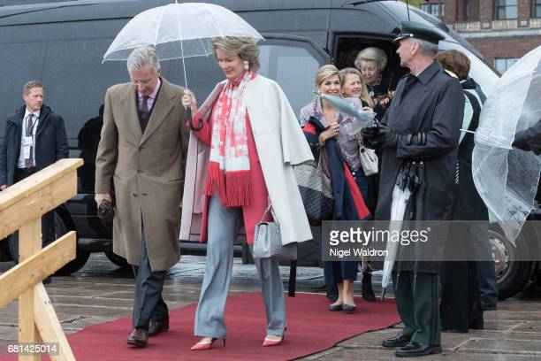 King Philippe of Belgium Queen Mathilde of Belgium attend a lunch on the Royal yacht Norge on the occasion of the celebration of King Harald and...