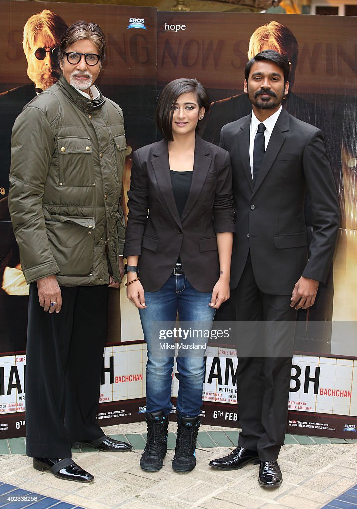 attends a photocall for 'Shamitabh' at St James Court Hotel on January 27, 2015 in London, England.