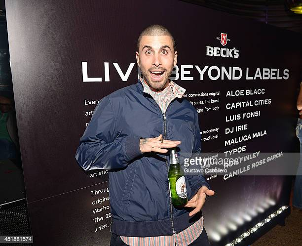 TYPOE attends as Beck's Beer launches Live Beyond Labels Program with Aloe Blacc and Luis Fonsi at The Electric Pickle Company on July 8 2014 in...