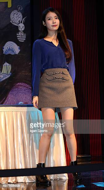 IU attends her autograph session at Lotte World Mall on November 6 2015 in Seoul South Korea