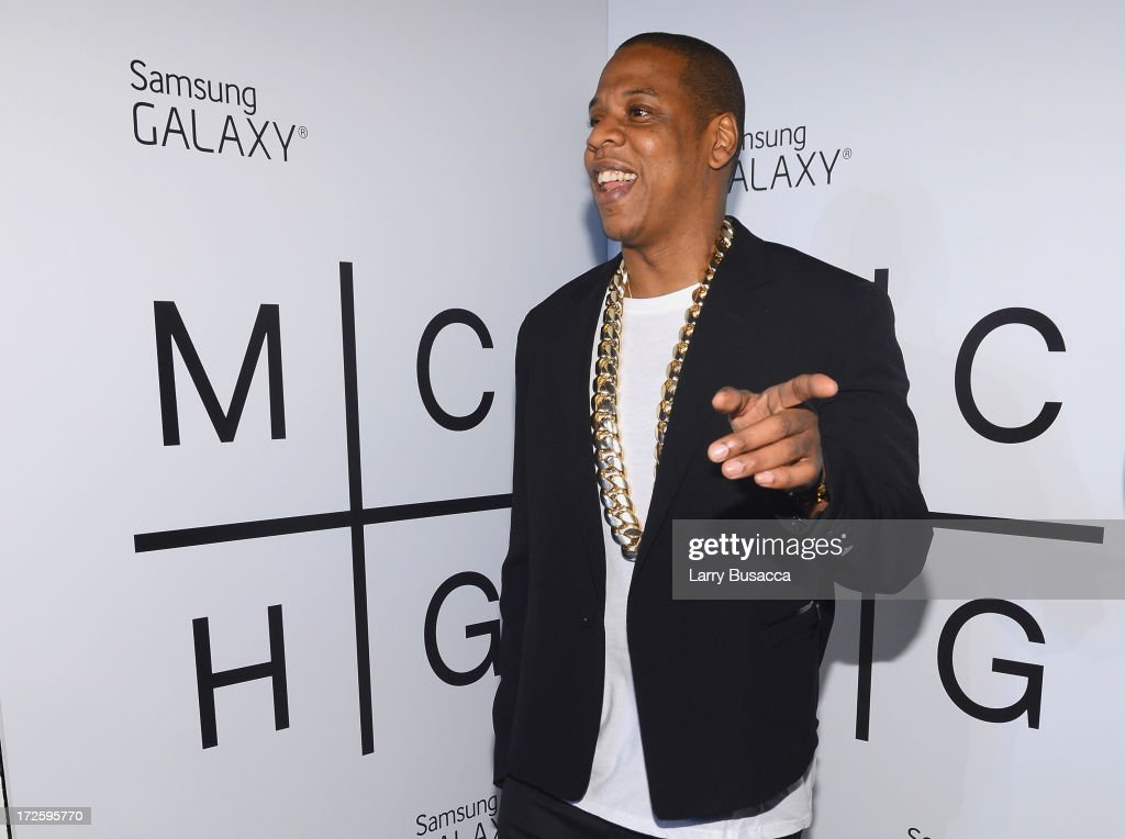 Z attends JAY Z and Samsung Mobile's celebration of the Magna Carta Holy Grail album, available now through a customized app in Google Play and Samsung Apps exclusively for Samsung Galaxy S 4, Galaxy S III and Note II users on July 3, 2013 in Brooklyn City.