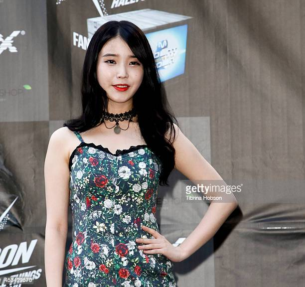 IU attends KCON 2014 at the Los Angeles Memorial Sports Arena on August 9 2014 in Los Angeles California