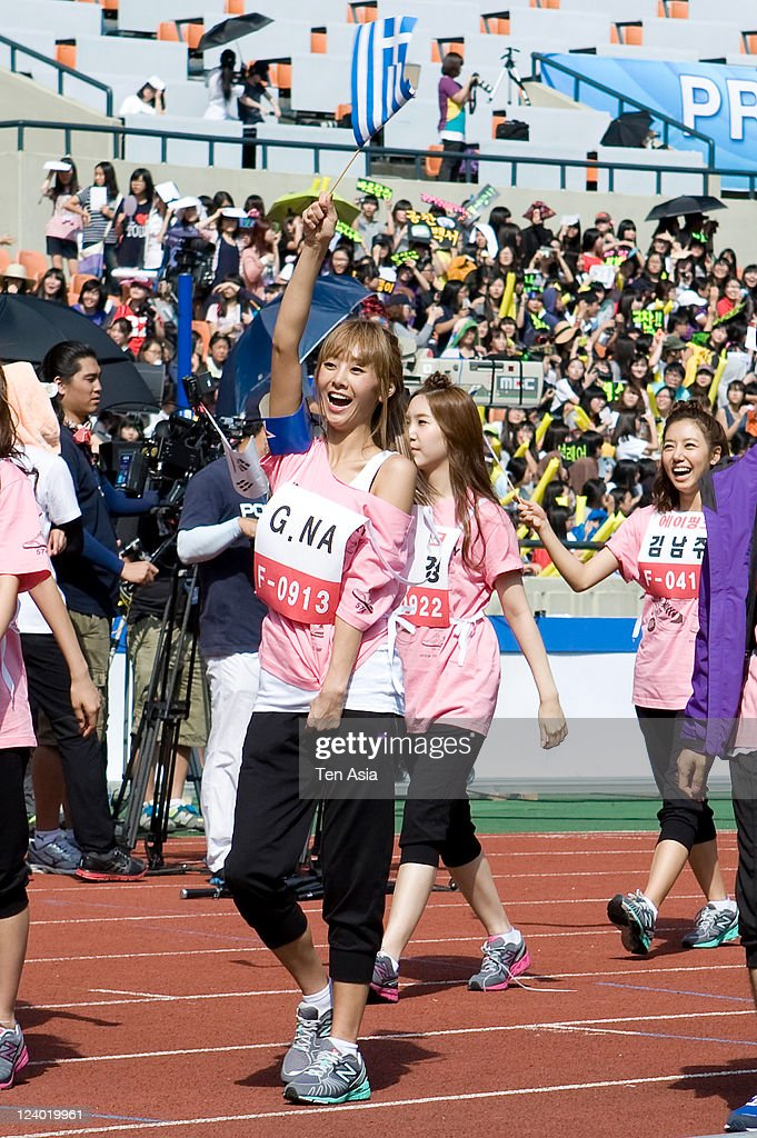 G.NA attends the 3rd Idol stars track and field championship at the Jamsil Stadium on August 27, 2011 in Seoul, South Korea.