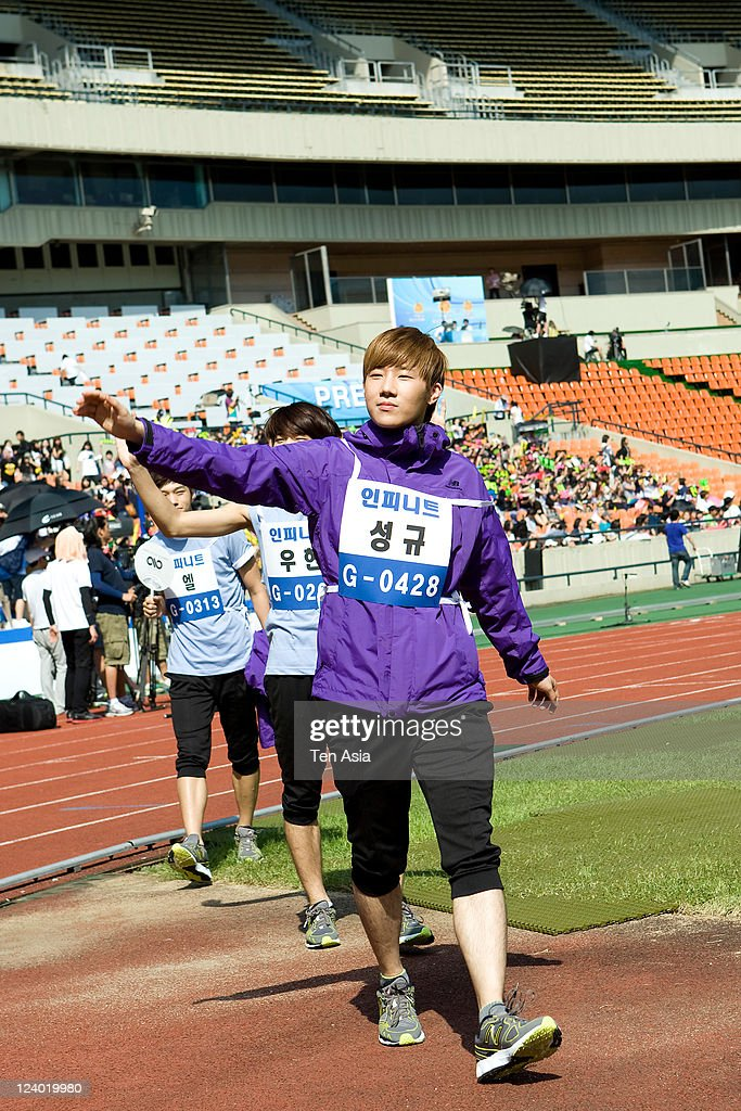 INFINITE attends the 3rd Idol stars track and field championship at the Jamsil Stadium on August 27, 2011 in Seoul, South Korea.