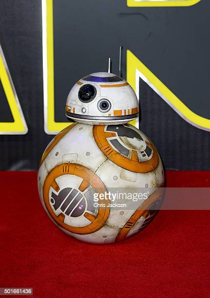 BB8 attends the European Premiere of 'Star Wars The Force Awakens' at Leicester Square on December 16 2015 in London England