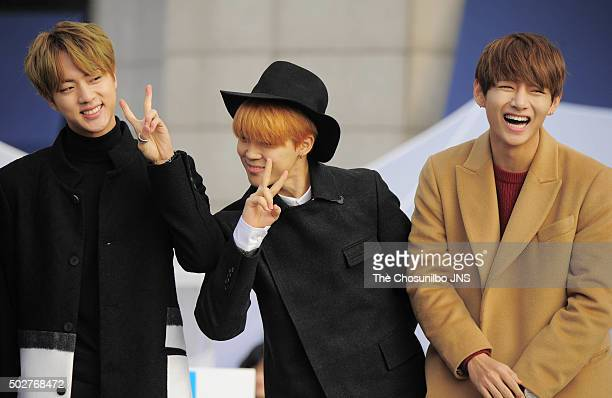 BTS attends the KStar Road opening ceremony at the Galleria on December 21 2015 in Seoul South Korea