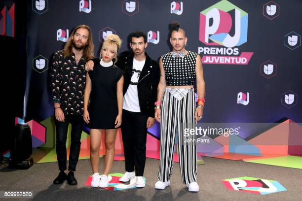 DNCE attends the Univision's 'Premios Juventud' 2017 Celebrates The Hottest Musical Artists And Young Latinos ChangeMakers at Watsco Center on July 6...