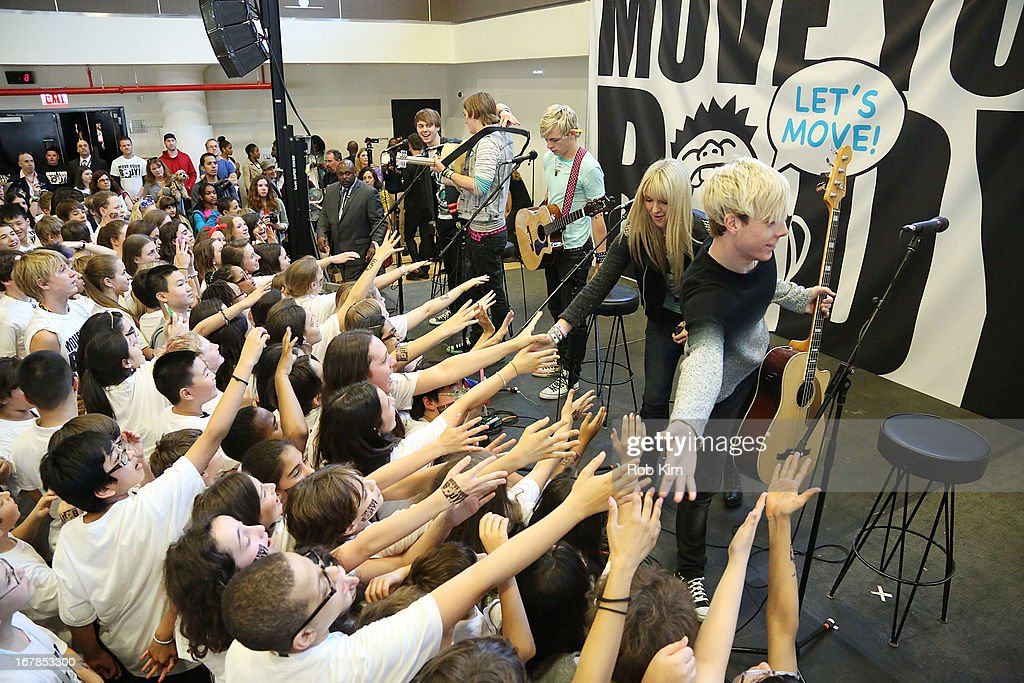 R5 attends WAT-AAH! Foundation Move Your Body 2013 Flash Workout at The Avenues World School on May 1, 2013 in New York City.