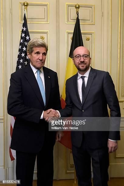 le Premier Ministre Charles Michel rencontre le Secrétaire d'Etat des EtatsUnis John Kerry Aanslagen van Brussel Eerste minister Charles Michel...