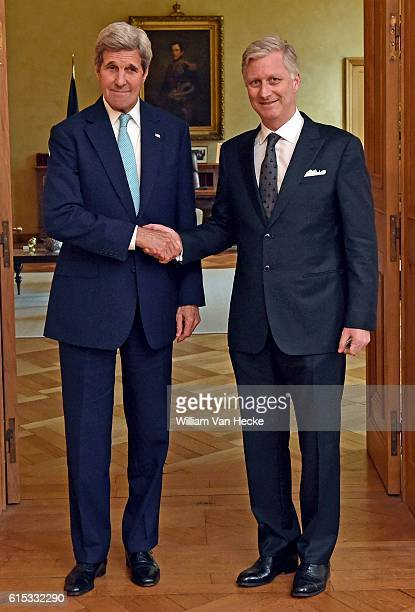le Roi Philippe rencontre le Secrétaire d'Etat des EtatsUnis John Kerry Aanslagen van Brussel Koning Philippe ontmoet de minister van Buitenlandse...
