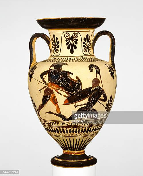 Attic BlackFigure Neck Amphora with Two Warriors Battling connected with the Class of Cabinet des Médailles 218 potter c 500 480 BC terracotta made...