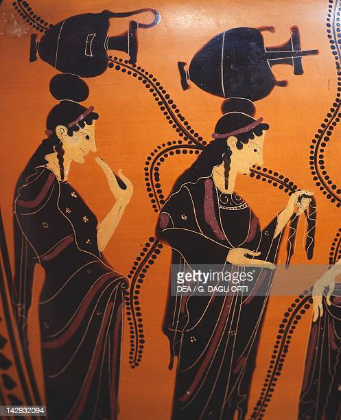 Attic hydria blackfigure pottery Detail showing women at the well Greek Civilization 6th Century BC Athens Moussío Kanelopoúlos