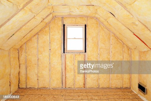 Attic room insulation frame and window stock photo getty for Insulate your home for free
