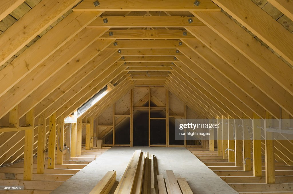 attic in house. attic space in newlybuilt house stock photo