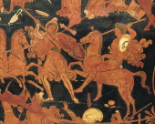 Attic vase with a scene of Amazons redfigure pottery Italy Detail Greek pottery 4th Century BC Naples Museo Archeologico Nazionale