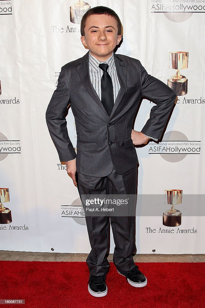 Atticus Shaffer arrives at the 40th Annual Annie Awards held at Royce Hall on the UCLA Campus on February 2, 2013 in Westwood, California.