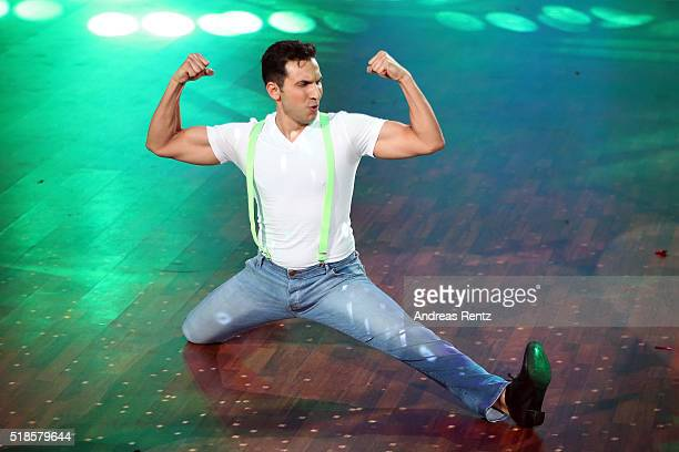 Attila Hildmann performs on stage during the 3rd show of the television competition 'Let's Dance' on April 1 2016 in Cologne Germany