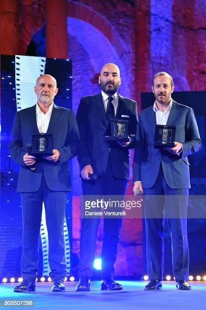 Attilio de Razza Nicola Guaglianone and Pierpaolo Verga attend Nastri D'Argento 2017 Awards Ceremony on July 1 2017 in Taormina Italy