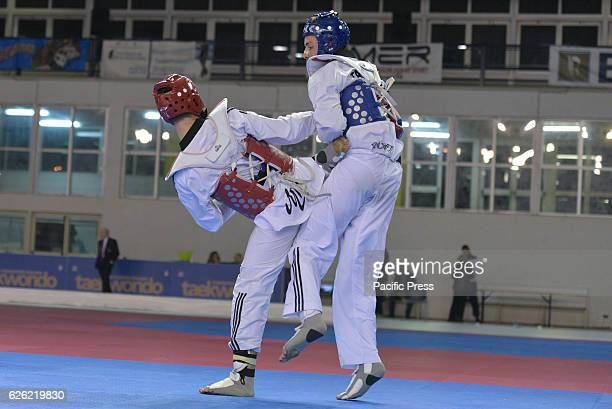 PALATRINCONE POZZUOLI NAPLES ITALY Attilio Ventola red armor against Ivan Scala blue armor 80 kg category Ivan Scala wins the match by winning the...