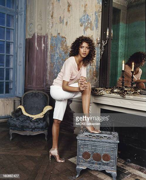 Attitude of Noemie Lenoir poses a foot on a small stove a serpent placed on the fireplace in an apartment in IIIrd district of PARIS