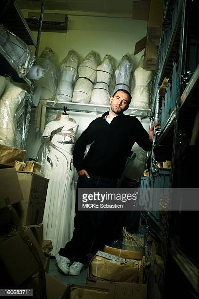 Attitude of the Italian designer Riccardo Tisci creative director of Givenchy posing in the reservation in his studio on Avenue George V in Paris