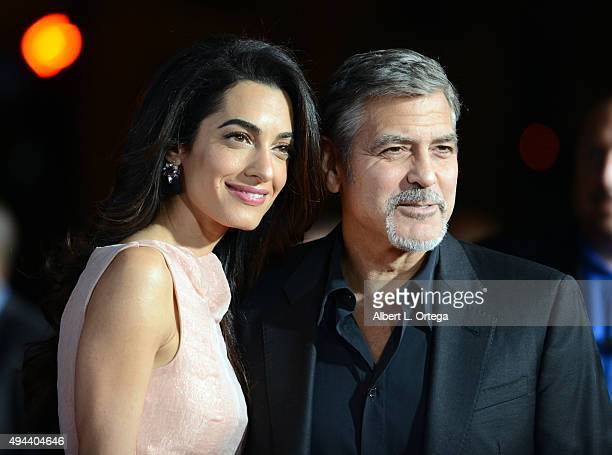 Attorney Amal Alamuddin and actor/producer George Clooney arrive for the Premiere Of Warner Bros Pictures' 'Our Brand Is Crisis' held at TCL Chinese...