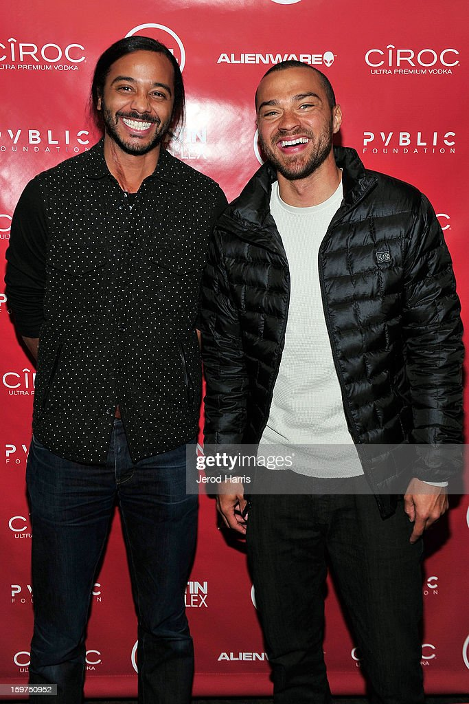 Attorney Andre Des Rochers and actor Jesse Williams attend the Google + Hangout at the DELL #Inspire 100 Lounge on January 19, 2013 in Park City, Utah.