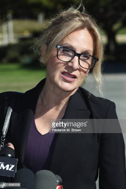 Attorney Angela Agrusa representing Bill Cosby speaks during a trial setting conference of a civil suit against Bill Cosby at the Santa Monica...