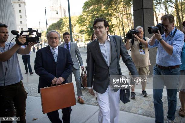 Attorney Benjamin Brafman and expharmaceutical executive Martin Shkreli arrive at the US District Court for the Eastern District of New York August 1...
