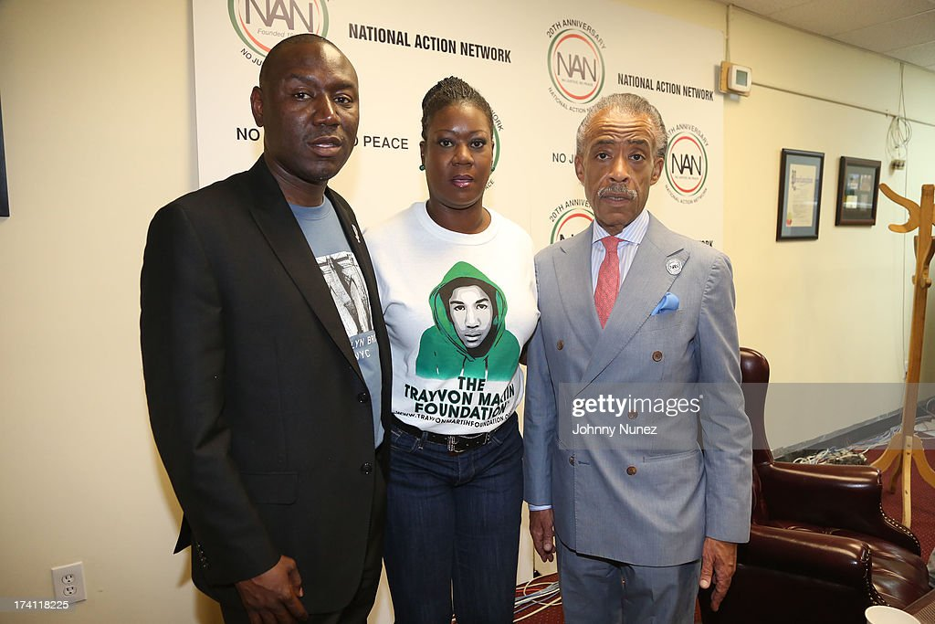 Attorney <a gi-track='captionPersonalityLinkClicked' href=/galleries/search?phrase=Benjamin+Crump+-+Attorney&family=editorial&specificpeople=9042867 ng-click='$event.stopPropagation()'>Benjamin Crump</a>, <a gi-track='captionPersonalityLinkClicked' href=/galleries/search?phrase=Sybrina+Fulton&family=editorial&specificpeople=9024062 ng-click='$event.stopPropagation()'>Sybrina Fulton</a> and <a gi-track='captionPersonalityLinkClicked' href=/galleries/search?phrase=Al+Sharpton&family=editorial&specificpeople=202250 ng-click='$event.stopPropagation()'>Al Sharpton</a> attend National Action Network 100 City 'Justice For Trayvon' Vigil on July 20, 2013 in New York City.