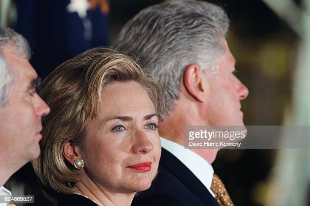 Attorney Brian O'Dwyer First Lady Hillary Clinton and President Bill Clinton at the White House for an event promoting peace in Ireland on September...